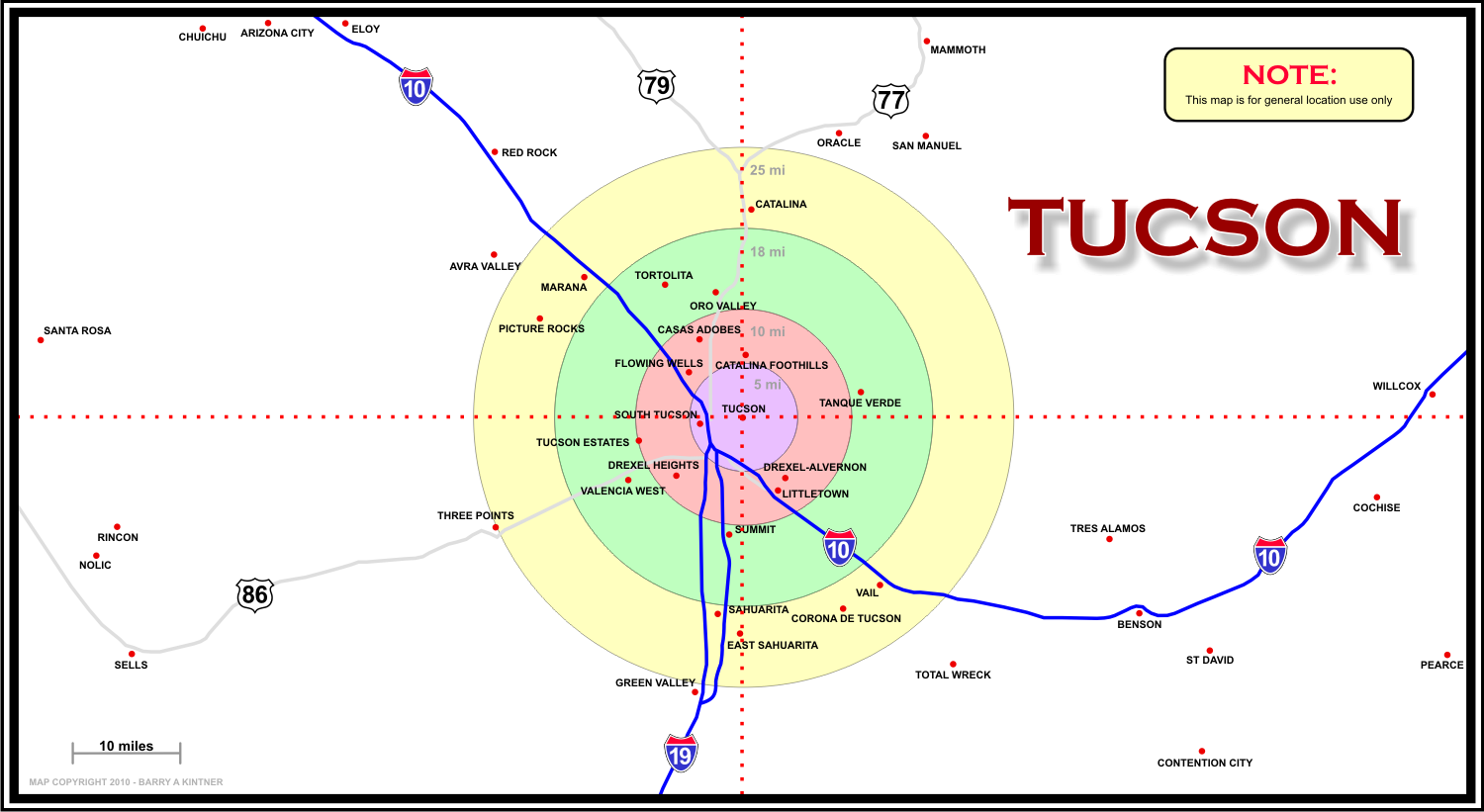 Map of Tucson, Arizona area - A2Z Computer Works