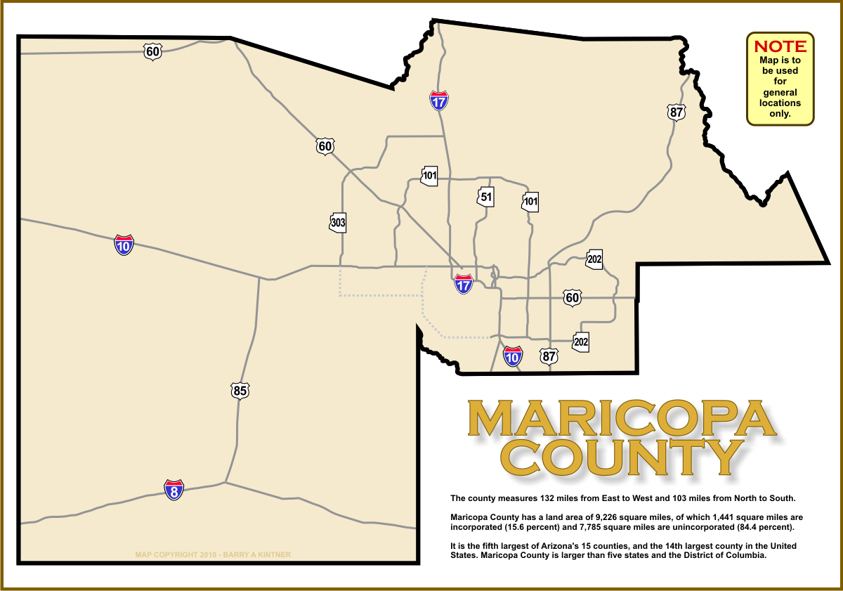 Map Of Maricopa County Map of Maricopa County, Arizona   A2Z Computer Works Map Of Maricopa County